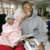 Antoine Cason, University of Arizona cornerback and Jim Thorpe Award recipient for 2008, is hugged by Willa Sue Howell, Oklahoma City, after he gave her a personalized autographed photo during his visit with patients at the Jim Thorpe Rehab Hospital in southwest Oklahoma City Tuesday morning, Feb. 12, 2008 Cason was in town to receive the award at a banquet tonight. BY JIM BECKEL, THE OKLAHOMAN