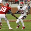 Trey Metoyer (17) comes up against Joe Powell (19) after a reception during the University of Oklahoma (OU) football team\'s annual Red and White Game at Gaylord Family/Oklahoma Memorial Stadium on Saturday, April 14, 2012, in Norman, Okla. Photo by Steve Sisney, The Oklahoman