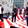 One Direction members, from left, Niall Horan, Zayn Malik and Harry Styles perform on NBC\'s