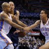 Oklahoma City\'s Derek Fisher (6) and Kevin Martin (23) run into Memphis\' Tayshaun Prince (21) during Game 5 in the second round of the NBA playoffs between the Oklahoma City Thunder and the Memphis Grizzlies at Chesapeake Energy Arena in Oklahoma City, Wednesday, May 15, 2013. Photo by Bryan Terry, The Oklahoman