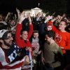 A crowd outside the White House in Washington, cheer Sunday, May 1, 2011, upon hearing the news that terrorist leader Osama bin Laden is dead. (AP Photo/Manuel Balce Ceneta) ORG XMIT: WHMC102