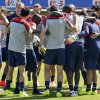 U.S. men\'s soccer team members embrace during training in preparation for the World Cup, Wednesday, May 21, 2014, in Stanford, Calif. (AP Photo/Marcio Jose Sanchez)