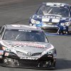 Photo - Matt Kenseth leads Jimmie Johnson during practice for Sunday's NASCAR Sprint Cup series auto race at New Hampshire Motor Speedway, Saturday, Sept. 21, 2013, in Loudon, N.H. (AP Photo/Jim Cole)