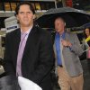 Winnipeg Jets\' Ron Hainsey, left, and Steve Fehr, players union special counsel, arrive at NHL headquarters in New York, Friday, Sept. 28, 2012. With the clock ticking down to the start of the season, the NHL and its locked-out players are talking again. (AP Photo/ Louis Lanzano)