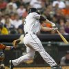Seattle Mariners\' Kyle Seager hits a two-run home run in the fourth inning against the Houston Astros during a baseball game Friday, July 19, 2013, in Houston. (AP Photo/Bob Levey)