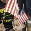 Gabriella Garcia, 4, Tulsa, waves flag during the welcome home ceremony. About 250 members of the The Oklahoma National Guard, 45th Infantry Brigade Combat Team (IBCT) returned from Afghanistan and Kuwait on Wednesday, March 28, 2012. Photo By David McDaniel/The Oklahoman