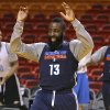 Oklahoma City\'s James Harden laughs as he stretches before practice for Game 3 of the NBA Finals between the Oklahoma City Thunder and the Miami Heat at American Airlines Arena in Miami, Saturday, June 16, 2012. Photo by Bryan Terry, The Oklahoman