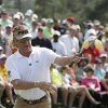 Photo - Miguel Angel Jimenez, of Spain, reacts to a missed putt on the ninth green during the second round of the Masters golf tournament Friday, April 11, 2014, in Augusta, Ga. (AP Photo/Charlie Riedel)