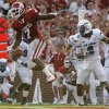 Oklahoma\'s DeMarco Murray (7) celebrates after his touchdown in front of Air Force\'s Jon Davis (6) during the second half of the college football game between the University of Oklahoma Sooners (OU) and the Air Force Falcons at the Gaylord Family - Memorial Stadium on Saturday, Sept. 18, 2010, in Norman, Okla. Photo by Chris Landsberger, The Oklahoman