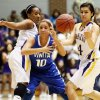 Vinita\'s Kamry Chamberlain (10) loses the ball between Anadarko\'s Tandra King (2), left, and Ashley Beatty (14) during a Class 4A girls high school basketball game in the first round of the state tournament at the Sawyer Center on the campus of Southern Nazarene University in Bethany, Okla., Thursday, March 7, 2013. Anadarko won, 51-45. Photo by Nate Billings, The Oklahoman