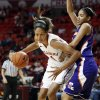 Oklahoma Sooners\' Nicole Griffin (4) drives around Northwestern State Lady Demons\' Breanna Fuller (11) as the University of Oklahoma (OU) Sooner women\'s basketball team plays the Northwestern State Lady Demons at the Lloyd Noble Center on Thursday, Nov. 29, 2012 in Norman, Okla. Photo by Steve Sisney, The Oklahoman