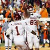 OU\'s Brody Eldridge (83) and Manuel Johnson (1) celebrate a touchdown catch by Eldridge during the second half of the college football game between the University of Oklahoma Sooners (OU) and Oklahoma State University Cowboys (OSU) at Boone Pickens Stadium on Saturday, Nov. 29, 2008, in Stillwater, Okla. STAFF PHOTO BY NATE BILLINGS ORG XMIT: KOD