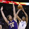 L.A. LAKERS / OKLAHOMA CITY THUNDER / LOS ANGELES LAKERS / NBA BASKETBALL Oklahoma City Thunder guard Russell Westbrook shoots over L.A. center Pau Gasol during the Thunder - Lakers game March 26, 2010 in the Ford Center in Oklahoma City. BY HUGH SCOTT, THE OKLAHOMAN ORG XMIT: KOD