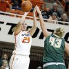 Oklahoma State\'s Lindsey Keller (25) shoots over Cal Poly\'s Molly Schlemer (43)during the women\'s college basketball game between Oklahoma State and Cal Poly at Gallagher-Iba Arena in Stillwater, Okla., Friday, Nov. 9, 2012. Photo by Sarah Phipps, The Oklahoman