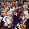 Kobe Bryant (24) of Los Angeles tries to get past the defense of Oklahoma City\'s Thabo Sefolosha (2) during the NBA basketball game between the Los Angeles Lakers and the Oklahoma City Thunder at the Ford Center in Oklahoma City, Friday, March 26, 2010. Photo by Nate Billings, The Oklahoman