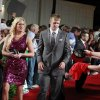 Kansas State quarterback Collin Klein, center right, and his wife Shalin arrive at the Home Depot College Football Awards in Lake Buena Vista, Fla., Thursday, Dec. 6, 2012.(AP Photo/John Raoux)
