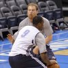 Dave Bliss goes through drills with Oklahoma City\'s Serge Ibaka during the NBA Finals practice day at the Chesapeake Energy Arena on Monday, June 11, 2012, in Oklahoma City, Okla. Photo by Chris Landsberger, The Oklahoman