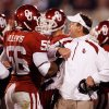 Ronnell Lewis is congratulated by head coach Bob Stoops after recovering an A&M fumble of the Sooner kickoff during the first half of the college football game between the University of Oklahoma Sooners (OU) and the Texas A&M at the Gaylord Familiy-Oklahoma Memorial Stadium on Saturday, Oct. 31, 2009, in Norman, Okla. Photo by Steve Sisney, The Oklahoman