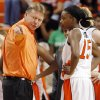 OSU head coach Kurt Budke talks to Toni Young (15) during the exhibition women\'s college basketball game between the Oklahoma State University Cowgirls and Washburn Lady Blues at Gallagher-Iba Arena in Stillwater, Okla., Tuesday, Nov. 10, 2009. Photo by Nate Billings, The Oklahoman