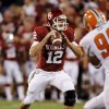 Landry Jones (12) throws during the second half of the college football game between the University of Oklahoma Sooners (OU) and Florida A&M Rattlers at Gaylord Family—Oklahoma Memorial Stadium in Norman, Okla., Saturday, Sept. 8, 2012. Photo by Steve Sisney, The Oklahoman