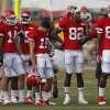 Kansas City Chiefs wide receiver Dwayne Bowe (82) drinks while standing with other receivers during NFL football training camp in St. Joseph, Mo., Thursday, Aug. 1, 2013. (AP Photo/Orlin Wagner)