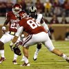 Oklahoma\'s Brannon Green loses a TCU kickoff that is recovered by TCU during the second half of a college football game between the University of Oklahoma Sooners (OU) and the TCU Horned Frogs at Gaylord Family-Oklahoma Memorial Stadium in Norman, Okla., on Saturday, Oct. 5, 2013. Photo by Steve Sisney, The Oklahoman