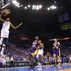 Oklahoma City\'s Kevin Durant dunks the ball in front of Los Angeles\' Kobe Bryant on a fast break during Game 2 in the second round of the NBA playoffs between the Oklahoma City Thunder and the L.A. Lakers at Chesapeake Energy Arena on Wednesday, May 16, 2012, in Oklahoma City, Oklahoma. Photo by Chris Landsberger, The Oklahoman