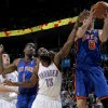 Oklahoma City\'s James Harden fights with New York\'s Amar\'e Stoudemire, left, and Danilo Gallinari for a rebound during the NBA basketball game between the Oklahoma City Thunder and the New York Knicks at the Oklahoma City Arena in Oklahoma City on Saturday, January 22, 2011. Photo by Bryan Terry, The Oklahoman