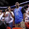 Nauza Ishmael, left, and Aameel Mohammed of Miami watch the Thunder warm up prior to Game 3 of the NBA Finals between the Oklahoma City Thunder and the Miami Heat at American Airlines Arena, Sunday, June 17, 2012. Photo by Bryan Terry, The Oklahoman