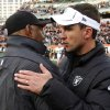 Oakland Raiders head coach Dennis Allen, right, greets Cincinnati Bengals head coach Marvin Lewis after the Bengals\' 34-10 win in an NFL football game, Sunday, Nov. 25, 2012, in Cincinnati. (AP Photo/Tom Uhlman)