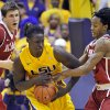 Photo -   LSU forward Johnny O'Bryant III (2) battles for control of a rebound with Alabama guard Levi Randolph (20) as Alabama center Carl Engstrom (4) watches during the second half of an NCAA college basketball game on Saturday, Feb. 11, 2012, in Baton Rouge, La. LSU won 67-58. (AP Photo/The Advocate, Bill Feig) MAGAZINES OUT, INTERNET OUT, TV OUT, NO SALES, FOREIGN OUT, LOUISIANA BUSINESS INC. OUT (INCLUDING GREATER BATON ROUGE BUSINESS REPORT, 225, 10/12, INREGISTER, LBI CUSTOM