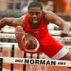 Del City\'s Airick Johnson competes in the boys 100 hurdles during the Gregg Byram Track Classic on Saturday, March 27, 2010, at Norman High School in Norman, Okla. Photo by Steve Sisney, The Oklahoman