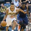 Indiana Pacers\' George Hill (3) drives against Charlotte Bobcats\' Ben Gordon (8) during the second half of an NBA basketball game in Indianapolis, Saturday, Jan. 12, 2013. The Pacers defeated the Bobcats 96-88. (AP Photo/Doug McSchooler)