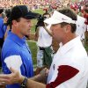 Air Force head coach Troy Calhoun (left) and Sooner head coach Bob Stoops greet after the college football game where the University of Oklahoma Sooners (OU) defeated the Air Force Falcons 27-24 at Gaylord Family-Oklahoma Memorial Stadium on Saturday, Sept. 18, 2010, in Norman, Okla. Photo by Steve Sisney, The Oklahoman