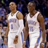Oklahoma City\'s Russell Westbrook (0) and Reggie Jackson (15) reacts after a three point shot during the NBA basketball game between the Oklahoma City Thunder and the Dallas Mavericks at Chesapeake Energy Arena in Oklahoma City, Okla. on Wednesday, Nov. 6, 2013. Photo by Chris Landsberger, The Oklahoman