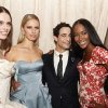 Photo -   Models Coco, Karolina Kurkova, designer Zac Posen and model Naomi Campbell are seen at the Zac Posen Spring 2013 Runway Show on Sunday, Sept. 9, 2012 in New York. (Photo by Amy Sussman/Invision/AP Images)