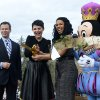 Walt Disney World Parks and Resorts Chairman Tom Staggs, left, and the character Mickey Mouse, right, watch as actress Ginnifer Goodwin, second from left, and singer Jordin Sparks cut the ceremonial ribbon for the New Fantasyland attraction at the Walt Disney World Resort\'s Magic Kingdom theme park in Lake Buena Vista, Fla., Thursday, Dec. 6, 2012. The new attraction is the largest expansion at the Magic Kingdom.(AP Photo/Phelan M. Ebenhack)