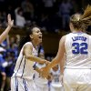 From left, Duke\'s Haley Peters, Chloe Wells and Tricia Liston (32) react late in the second half of a second-round game against Oklahoma State in the women\'s NCAA college basketball tournament in Durham, N.C., Tuesday, March 26, 2013. Duke won 68-59. (AP Photo/Gerry Broome)