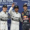 Photo - Mercedes driver Nico Rosberg of Germany, left, his team mate Lewis Hamilton of Britain, center, and Red Bull driver Daniel Ricciardo of Australia, right, pose for a photo after taking pole positions after qualifying at Albert Park ahead of the Australian Formula One Grand Prix in Melbourne, Australia, Saturday, March 15, 2014. (AP Photo/Ross Land)