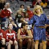 Okahoma coach Sherri Coale reacts during the Big 12 tournament women\'s college basketball game between the University of Oklahoma and Iowa State University at American Airlines Arena in Dallas, Sunday, March 10, 2012. Oklahoma lost 79-60. Photo by Bryan Terry, The Oklahoman