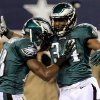 Photo - Philadelphia Eagles running back Bryce Brown (34) celebrates with Jeremy Maclin after scoring a touchdown against the Dallas Cowboys during the first half of an NFL football game, Sunday, Dec. 2, 2012, in Arlington, Texas. (AP Photo/LM Otero)