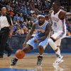 Oklahoma City\'s Reggie Jackson (15) blocks Denver\'s Ty Lawson (3) during the NBA preseason basketball game between the Oklahoma City Thunder and the Denver Nuggets at the Chesapeake Energy Arena, Sunday, Oct. 21, 2012. Photo by Garett Fisbeck, The Oklahoman