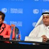 United Nations Convention on Climate Change Executive Secretary Christiana Figueres, left, speaks during a press conference along side Qatar\'s Deputy Prime Minister and president of the 18th United Nations Convention on Climate Change, Abdullah bin Hamad Al-Attiyah, in Doha, Qatar, Monday, Dec. 3, 2012. Highlighting a rift between the rich countries and emerging economies like China, New Zealand\'s climate minister staunchly defended his government\'s decision to drop out of the emissions pact for developed nations, saying it\'s an outdated and insufficient response to global warming. (AP Photo/Osama Faisal)