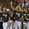 during a Women\'s College World Series game between California and Oregon at ASA Hall of Fame Stadium in Oklahoma City, Saturday, June 2, 2012. Photo by Garett Fisbeck, The Oklahoman