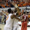 Oklahoma State\'s Marcus Smart (33) and Brian Williams (4) celebrate in front of Oklahoma\'s Steven Pledger (2) at the end ofthe Bedlam men\'s college basketball game between the Oklahoma State University Cowboys and the University of Oklahoma Sooners at Gallagher-Iba Arena in Stillwater, Okla., Saturday, Feb. 16, 2013. Photo by Sarah Phipps, The Oklahoman
