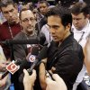 Miami Heat head coach Erik Spoelstra talks to the media after practice for the first game of the NBA basketball finals at the Chesapeake Arena on Tuesday, June 12, 2012 in Oklahoma City, Okla. Photo by Steve Sisney, The Oklahoman