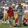 Photo - San Francisco 49ers' Ian Williams (93) is taken off the field with an injury in the first half of an NFL football game against the Seattle Seahawks, Sunday, Sept. 15, 2013, in Seattle. (AP Photo/John Froschauer)