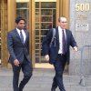 Photo - Rengan Rajaratnam, left, exits Manhattan federal court in New York with his attorney Daniel Gitner Tuesday, July 8, 2014 after he was acquitted of conspiracy to commit securities fraud. Prosecutors had alleged that Rajaratnam, 43, joined with his brother, Raj Rajaratnam, to cheat in the stock market in 2008 on the securities of two technology companies. (AP Photo/Larry Neumeister)