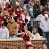 Meridith Sigler twirls flaming batons during the half time show of the college football game between the University of Oklahoma Sooners (OU) and the Oklahoma State University Cowboys (OSU) at the Gaylord Family-Memorial Stadium on Saturday, Nov. 24, 2007, in Norman, Okla. Photo By STEVE SISNEY, The Oklahoman