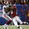 Oklahoma\'s Sterling Shepard (3) makes a catch Alabama\'s Jarrick Williams (20) defends during the NCAA football BCS Sugar Bowl game between the University of Oklahoma Sooners (OU) and the University of Alabama Crimson Tide (UA) at the Superdome in New Orleans, La., Friday, Jan. 3, 2014. .Photo by Sarah Phipps, The Oklahoman